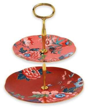 Wedgwood Paeonia Blush 2-Tier Server in Coral/Red