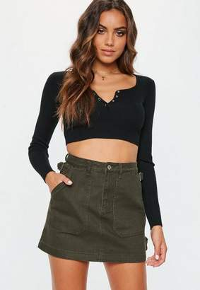 Missguided Khaki Combat Denim Mini Skirt