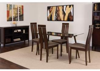 Flash Furniture Roseville 5 Piece Espresso Wood Dining Table Set with Glass Top and Clean Line Wood Dining Chairs - Padded Seats