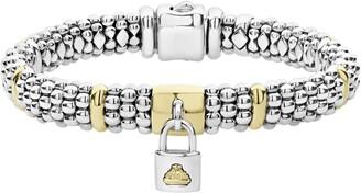 Lagos Beloved Charm Lock Caviar Rope Bracelet