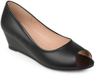 Journee Collection Womens Chaz Pumps Slip-on Peep Toe Wedge Heel