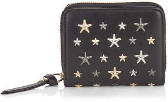 Jimmy Choo REGINA Black Leather Zip Around Wallet with Multi Metal Stars