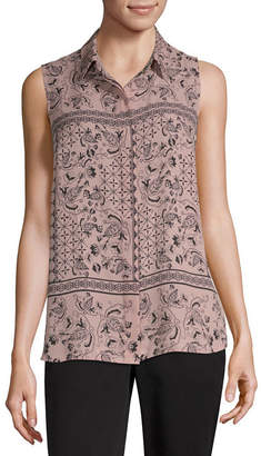 Liz Claiborne Womens Sleeveless Button-Front Shirt