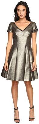 NUE by Shani Fit and Flare Metallic Dress with Sleeves Women's Dress