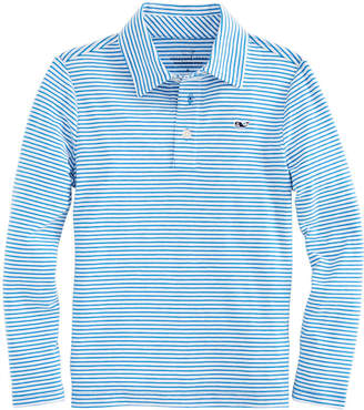Vineyard Vines Boys Long-Sleeve Color To White Shep Stripe Edgartown Polo