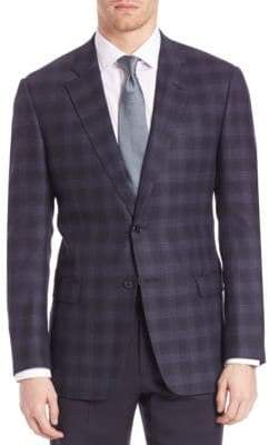 Armani Collezioni Two Button Plaid Jacket