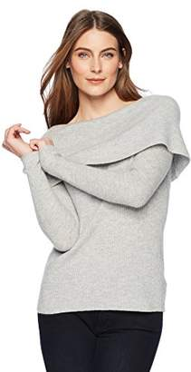 Lark & Ro Women's 100% Cashmere Slim Fit Off The Shoulder Sweater