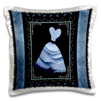 3dRose Baby blue frilly dress with leaves and pale denim ribbon on black background - Pillow Case, 16 by 16-inch