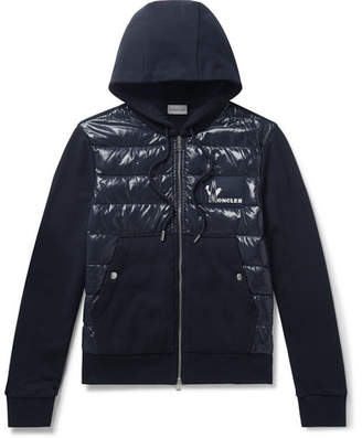 Moncler Panelled Cotton-Jersey and Quilted Shell Down Zip-Up Hoodie - Men - Navy