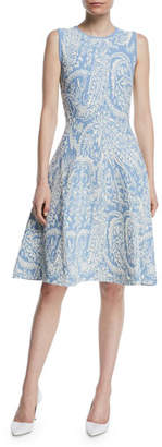 Zac Posen Sleeveless Knitted Jacquard Fit-and-Flare Knee-Length Dress