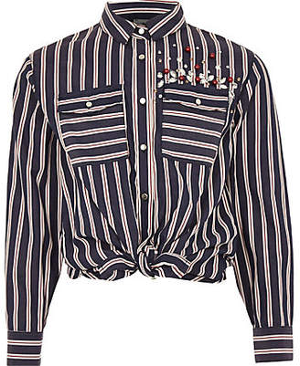 River Island Girls blue stripe sequin tie front shirt
