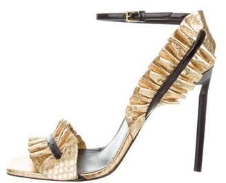 Ruffled Snakeskin Sandals