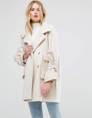 ASOS Oversized Coat with Bow Sleeve $119 thestylecure.com