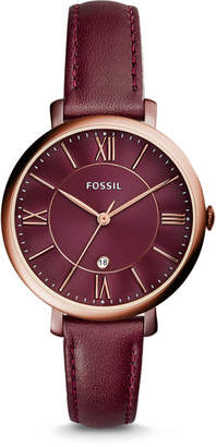 Fossil Jacqueline Three-Hand Date Wine Leather Watch