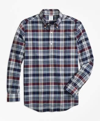 Brooks Brothers Regent Fit Madras Indigo Popover Sport Shirt