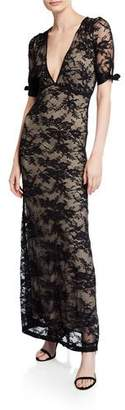 Nightcap Clothing Fiora V-Neck Short-Sleeve Lace Column Dress