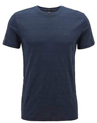 HUGO BOSS Slim-fit T-shirt in cotton with logo-tape sleeves