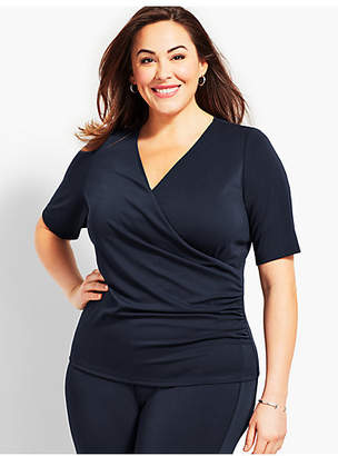 Talbots Plus Size Exclusive Wrap-Front Knit Jersey Top