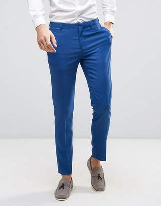 ASOS WEDDING Skinny Suit Pant in Blue Micro Texture $48 thestylecure.com