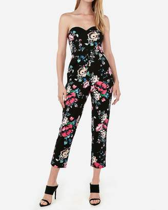 Express Floral Strapless Sweetheart Jumpsuit