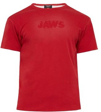 Calvin Klein Distressed Logo Double Faced Jersey T Shirt - Mens - Red White