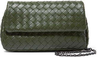 Bottega Veneta Messenger Mini Intrecciato Leather Shoulder Bag - Green