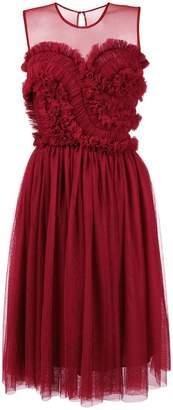 P.A.R.O.S.H. sleeveless frilled bustier midi dress