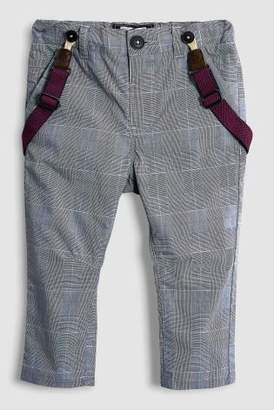 Next Boys Grey Check Trousers With Braces (3mths-6yrs)