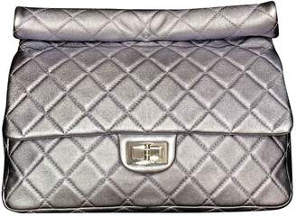 Chanel 2.55 Silver Leather Clutch Bag