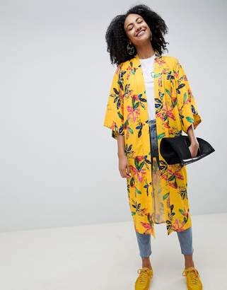 Asos MADE IN Made In Kenya x 2ManySiblings Longline Kimono In Yellow Floral