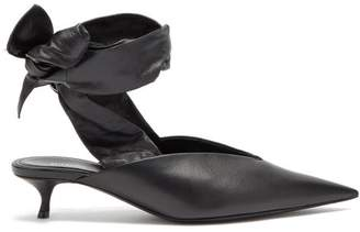 Balenciaga Dance Knife Wrap Around Leather Mules - Womens - Black