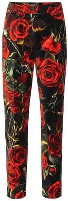 Dolce & Gabbana Rose-printed velvet pants