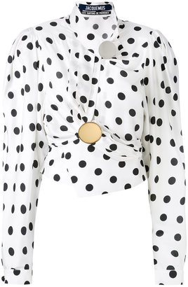 dots print draped blouse
