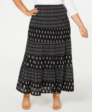Style&Co. Style & Co Plus Size Printed Tiered Mesh Maxi Skirt, Created for Macy's