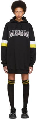 MSGM SSENSE Exclusive Black Oversized Logo Short Dress