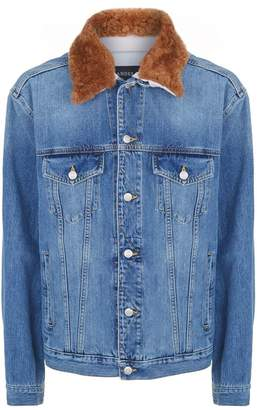 Alexander McQueen Shearling Trim Denim Jacket