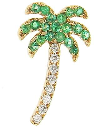 Sydney Evan Emerald Palm Tree Stud Earring - Left