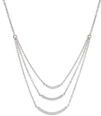 Bony Levy 18K White Gold Diamond Curved Triple Layer Necklace - 0.13 ctw