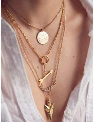 ABC Women Multilayer Irregular Crystal Pendant Chain Statement Necklace