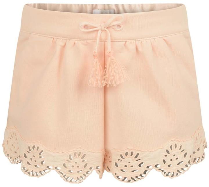 Chloé Baby Girls Pink Scalloped Hem Baby Shorts