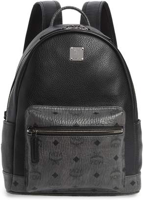 MCM Small Leather & Visetos Canvas Backpack
