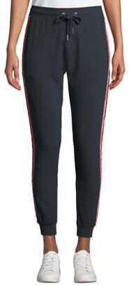 Zoe Karssen Woven Drawstring Jogger Pants with Velvet Stripes