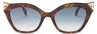 Fendi Havana Tortoiseshell Acetate Cat Eye Sunglasses - Womens - Brown