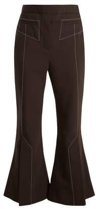 Ellery - Align Kick Flare Wool Blend Trousers - Womens - Black