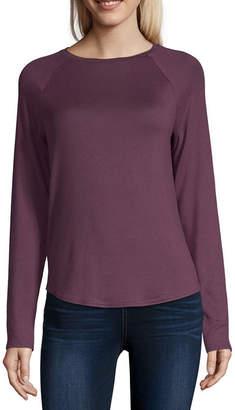 Arizona Womens Crew Neck Long Sleeve T-Shirt Juniors