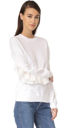 Clu Silk Ruffle Sweatshirt $270 thestylecure.com