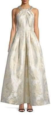 Eliza J Embellished Halterneck Pleated Gown