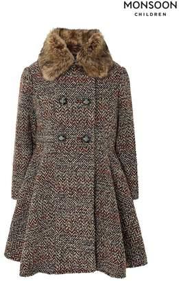 Monsoon Girls Brown Hattie Tweed Coat - Brown
