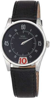 Bulgari Enigma By Gianni 35mm Date Watch w/ Leather Strap, Black