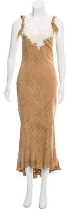 Christian Dior Leather & Silk Sleeveless Dress